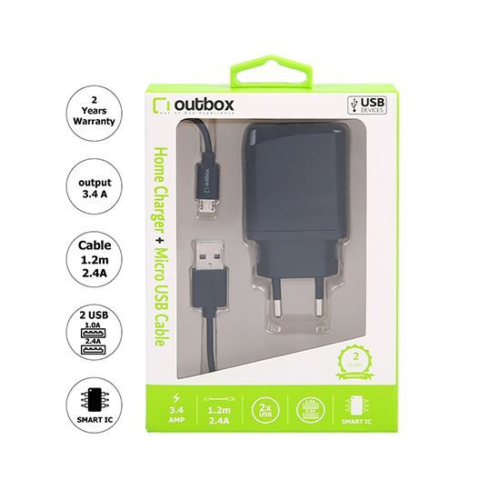 Outbox Home Charger 3.4A with Micro Cable